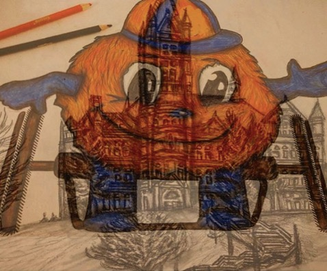 Otto the Orange in Wheelchair drawing